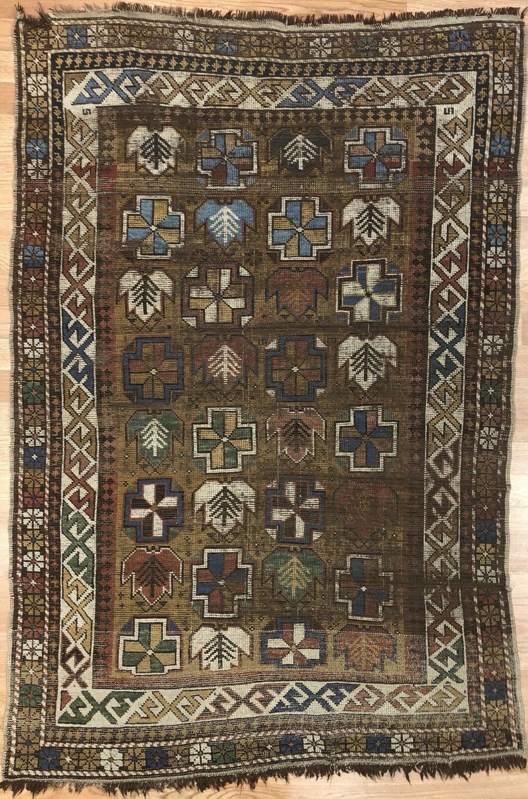 Classic Caucasian Carpet - 1980s Antique Tribal Rug - 3'3