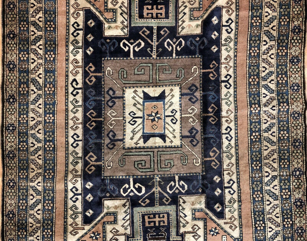 Astounding Ardebil - 1940s Antique Caucasian Rug - Tribal Carpet - 5'4