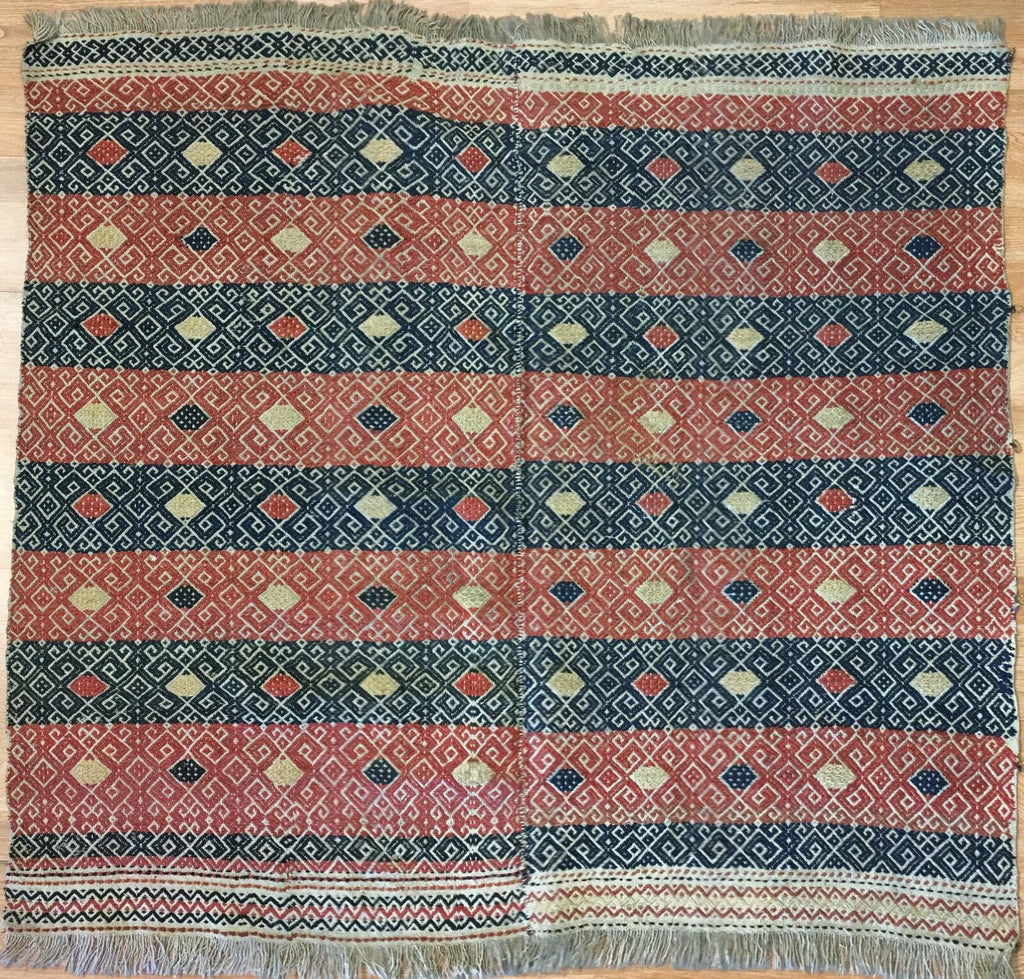 "Valuable Verneh - 1900s Antique Sumak Rug - Tribal Flatweave Carpet 4'1"" x 4'6"" ft"