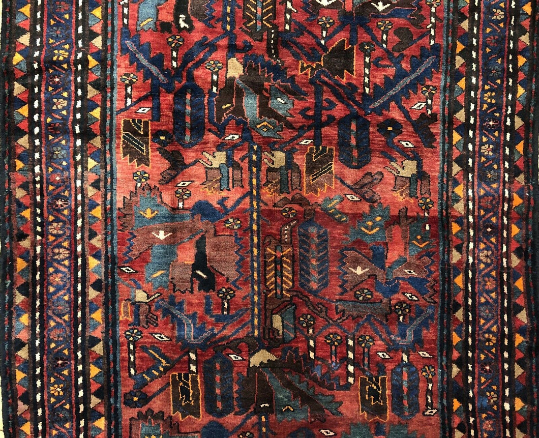 Handsome Hamadan - 1940s Antique Persian Rug - Tribal Carpet - 5' x 9'10