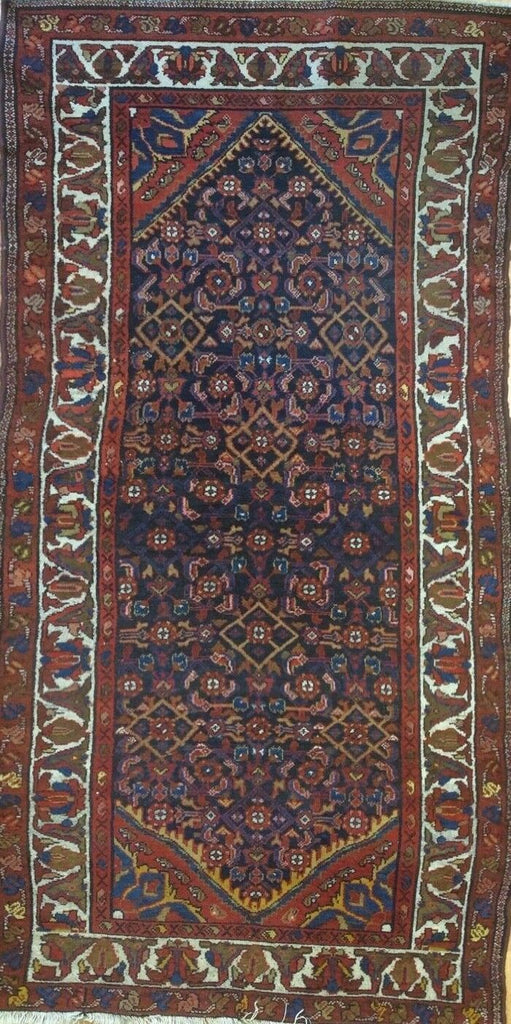 "Handsome Hamadan - 1930s Antique Persian Rug - Tribal Carpet - 4'5"" x 6'8"" ft."