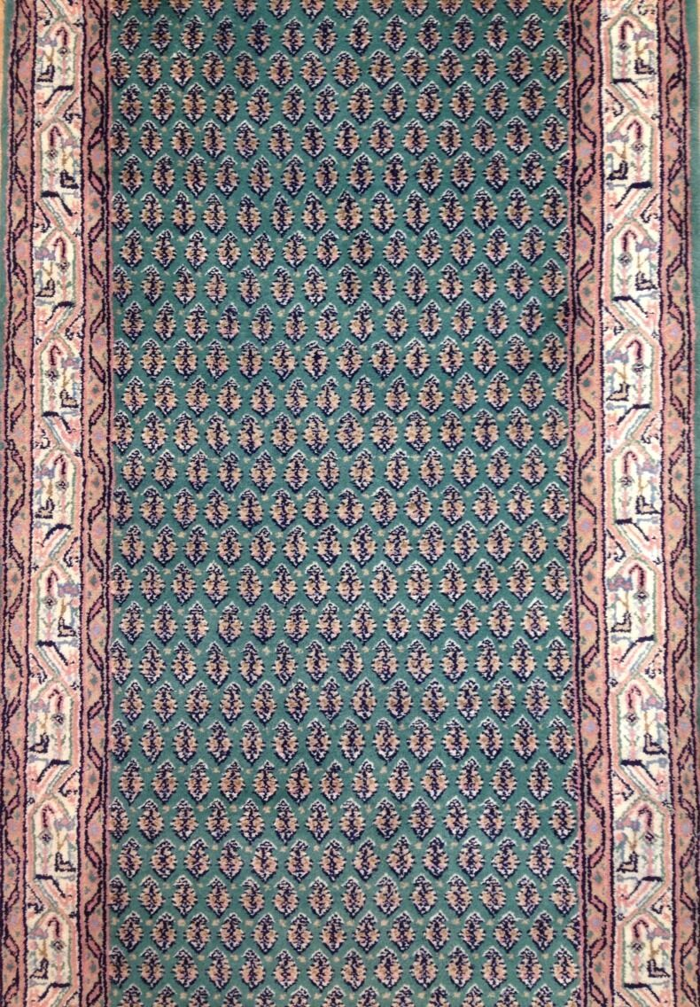 Genuine Green - Floral Mir Design Rug - Oriental Indian Runner 2'6