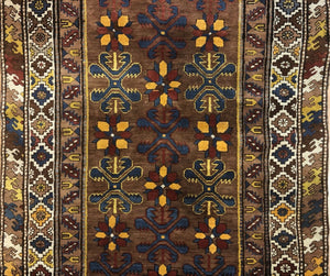 "Collectible Caucasian - 1900s Antique Karabagh Rug - Tribal Runner - 3'10"" x 7'3"" ft"