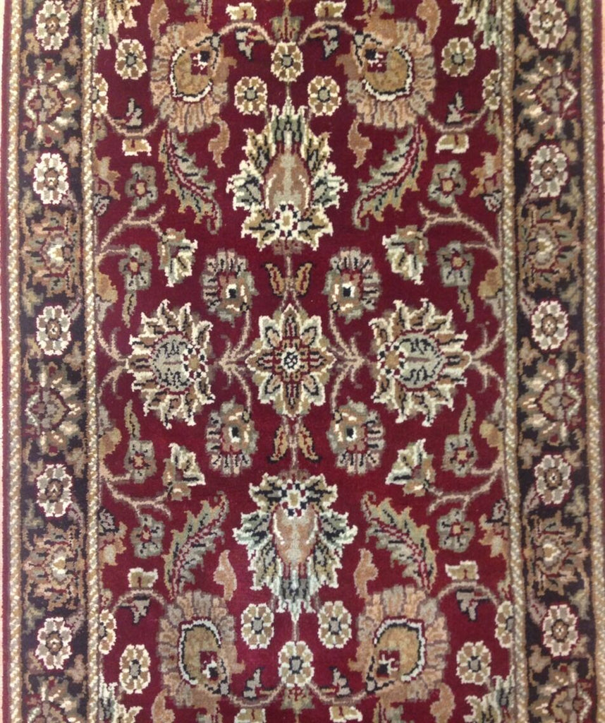 "Amazing Agra - Indian Floral Rug - Red and Black Oriental Carpet - 2'7"" x 17'8"" ft"