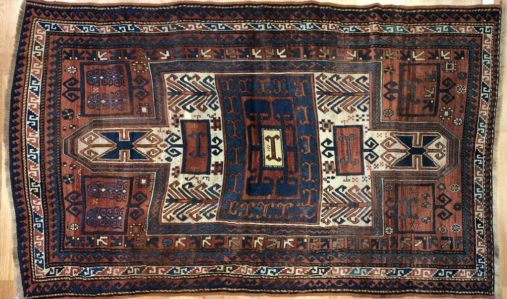 "Beautiful Bordjalou - 1890s Antique Kazak Rug - Tribal Carpet - 4'6"" x 7'7"" ft."