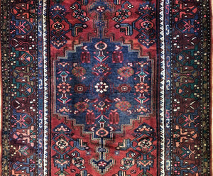"Handsome Hamadan - 1940s Antique Persian Rug - Tribal Carpet - 4'4"" x 6'11"" ft."