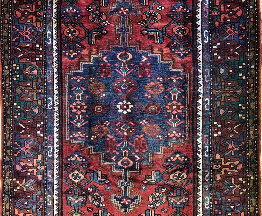 Handsome Hamadan - 1940s Antique Persian Rug - Tribal Carpet - 4'4