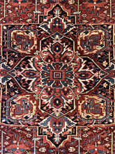 "Load image into Gallery viewer, Handsome Heriz - 1940s Antique Persian Rug - Tribal Carpet - 8'4"" x 11'7"" ft."