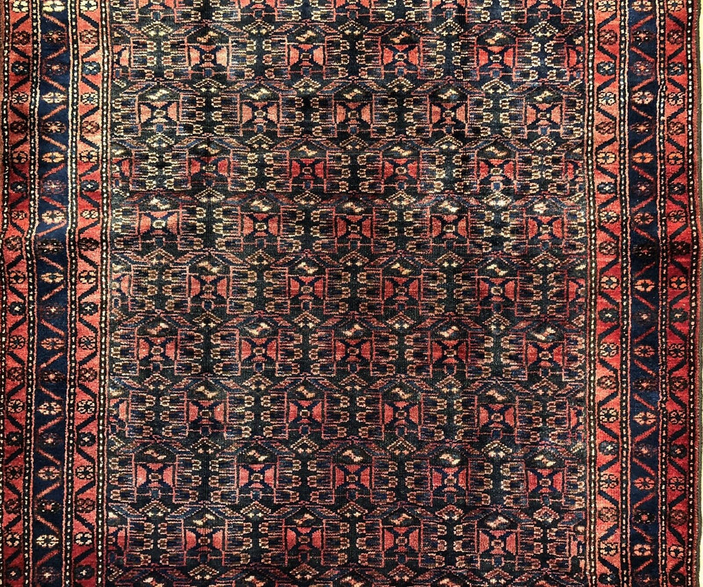 "Terrific Tribal - 1940s Antique Oriental Rug - Persian Kurdish Carpet - 4'3"" x 6'8"" ft."