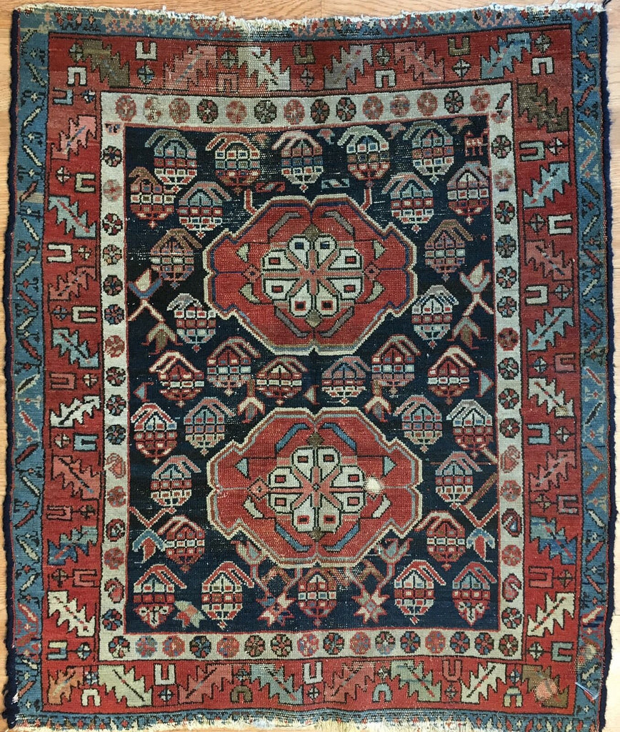 "Perfect Persian - 1900s Antique Kurdish Rug - Tribal Carpet - 3'4"" x 3'10"" ft."