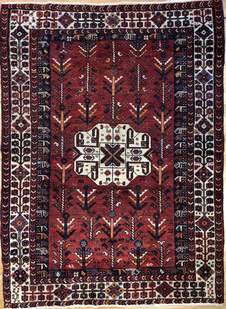 "Amazing Ardebil - 1940s Antique Persian Rug - Tribal Carpet - 3'10"" x 5'2"" ft."