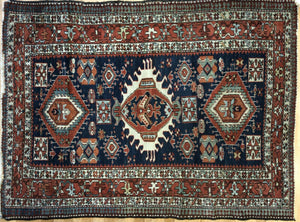 "Handsome Heriz - 1900s Antique Persian Rug - Tribal Carpet - 4'5"" x 6' ft."