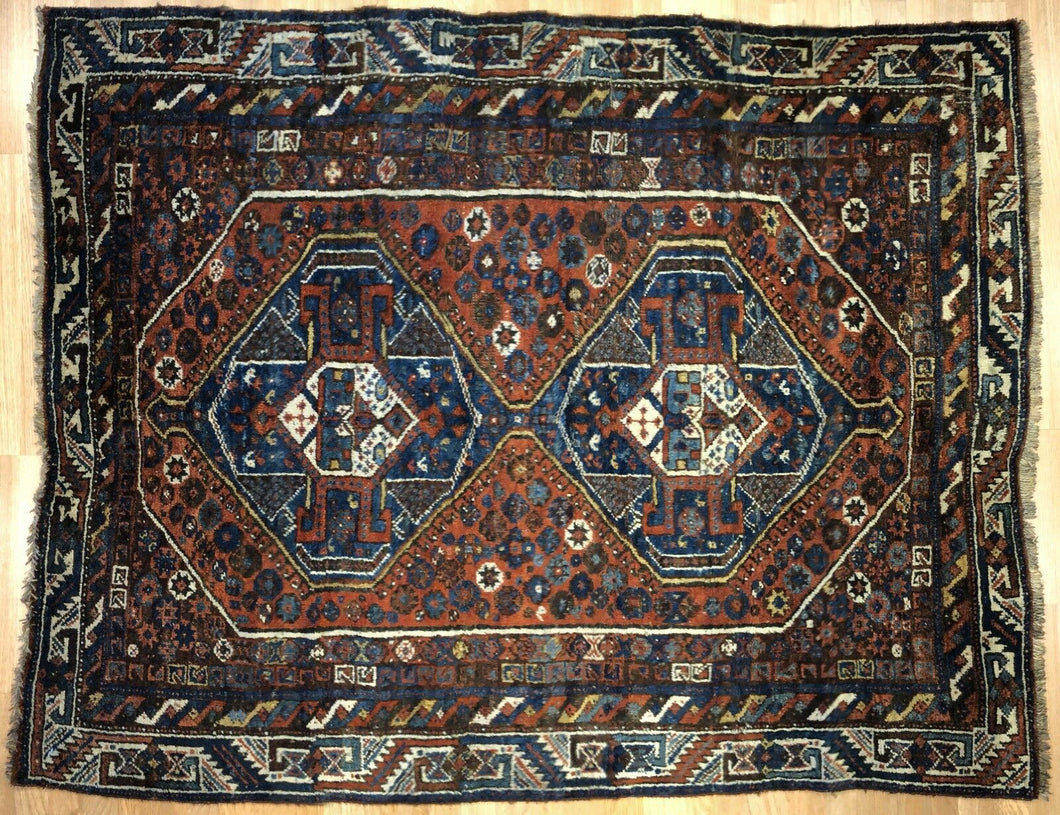 Special Shiraz - 1910s Antique Persian Rug - Tribal Carpet - 5' x 6'3