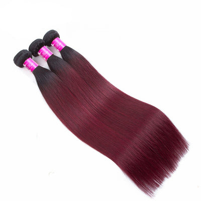 Burgundy Ombre Straight Sew-In Human Hair Extension