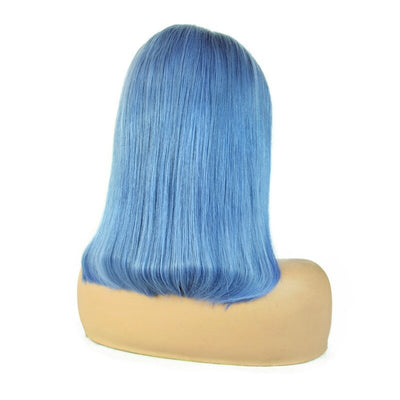 Light Blue Short Straight Remy Human Hair Wig