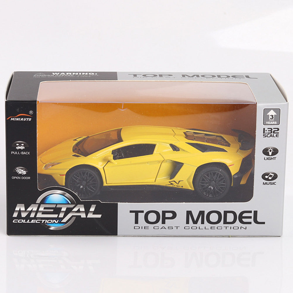 Alloy Racing Car Model with Light Sound 3 Open Doors Open Toy Gift for Kids yellow