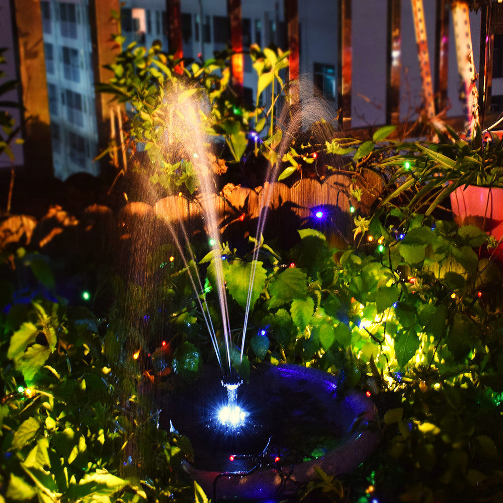LED Lighting Solar Floating Fountain Landscape Decor White light