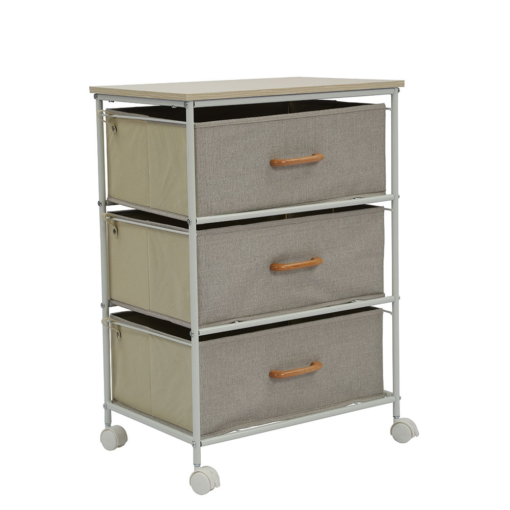 Drawers Style Storage Rack for Bedroom Living Room Toys Books Organize 3 grids in gray