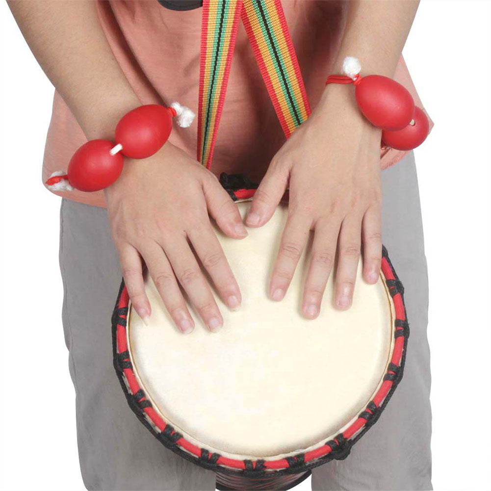 1 Pair Wrist Sand Egg African Drum Ukulele Dedicated Accompaniment Shakers Rhythm Instrument Sand Egg  red