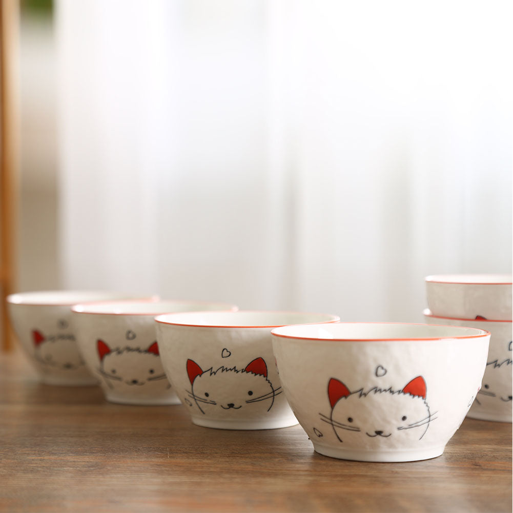 12Pcs/Set Ceramic Tableware Bowl Spoon Cute Cat Heart Dinnerware Set