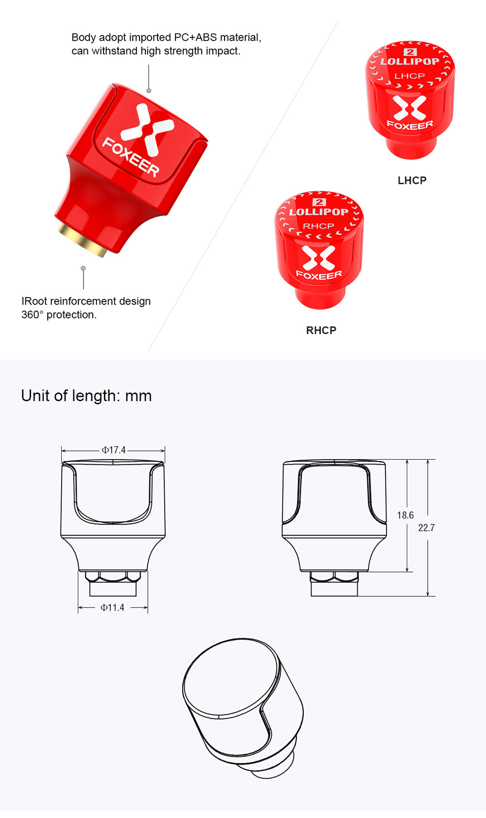 Foxeer Lollipop 2 Stubby 5.8G Omni Antenna(2pcs) RHCP red