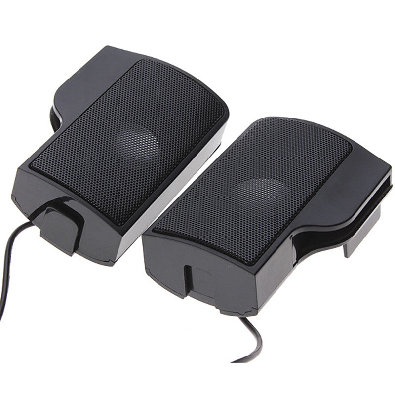 1 Pair Mini Portable Clipon USB Stereo Speakers line Controller Soundbar for Laptop MP3 Phone Music  black