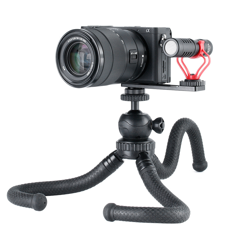 PT-5 Vlogging Microphone Mount Tripod Adapter Bracket Stand for SONY A6400 A6500 A6300 Camera  black