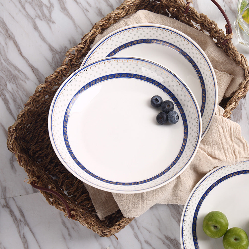 4Pcs/Set Ceramic Dinner Plate Simple Blue Stripe Dessert Fruit Dish Tableware white