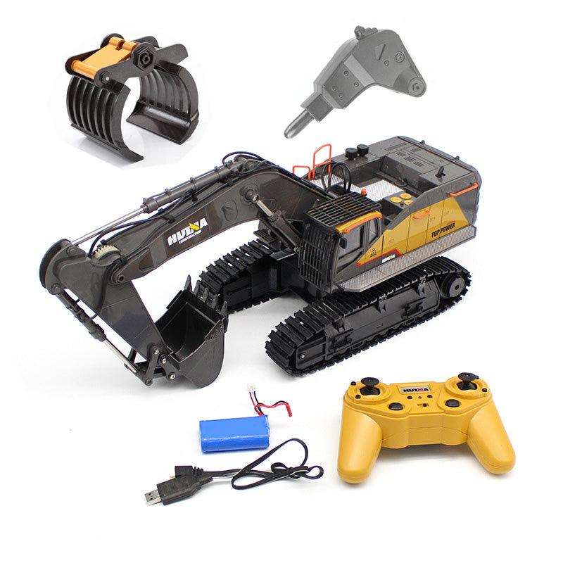 HuiNa 1:14 1592 RC Alloy Excavator 22CH Big RC Trucks Simulation Excavator Remote Control Vehicle Replaceable Bucket Toy for Boys default