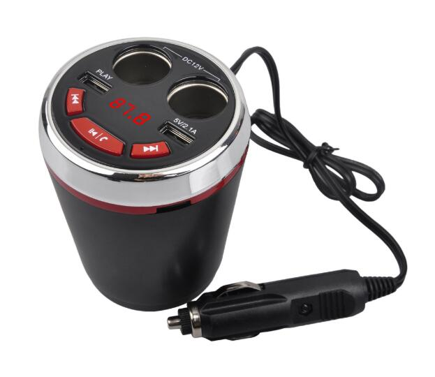 Car Charger Bluetooth 5.0 Multifunction Cup Holder 3.1a Fm Transmitting U Disk /tf Card Car Mp3 Player green