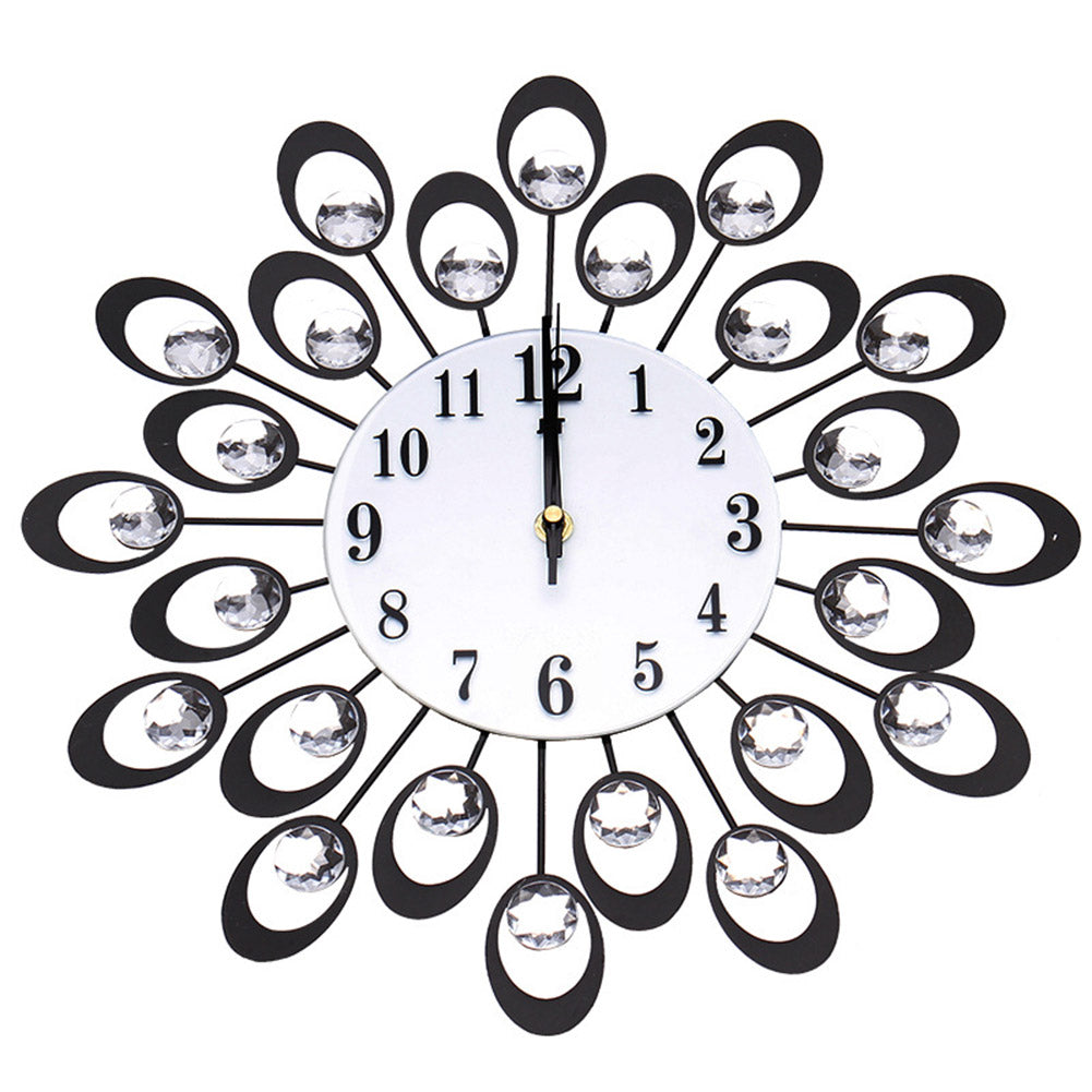 Modern Mute Quartz Wall Clock for Living Room Bedroom (Not Including Battery) black