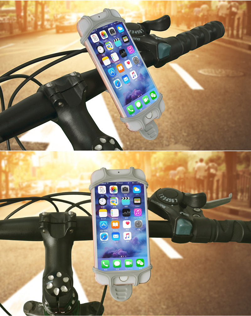 Bike Phone Mount Mobile Cellphone Holder Universal Cradle for All Bicycle Handlebars for iPhone 8, 7, 6, 5, Samsung Series gray