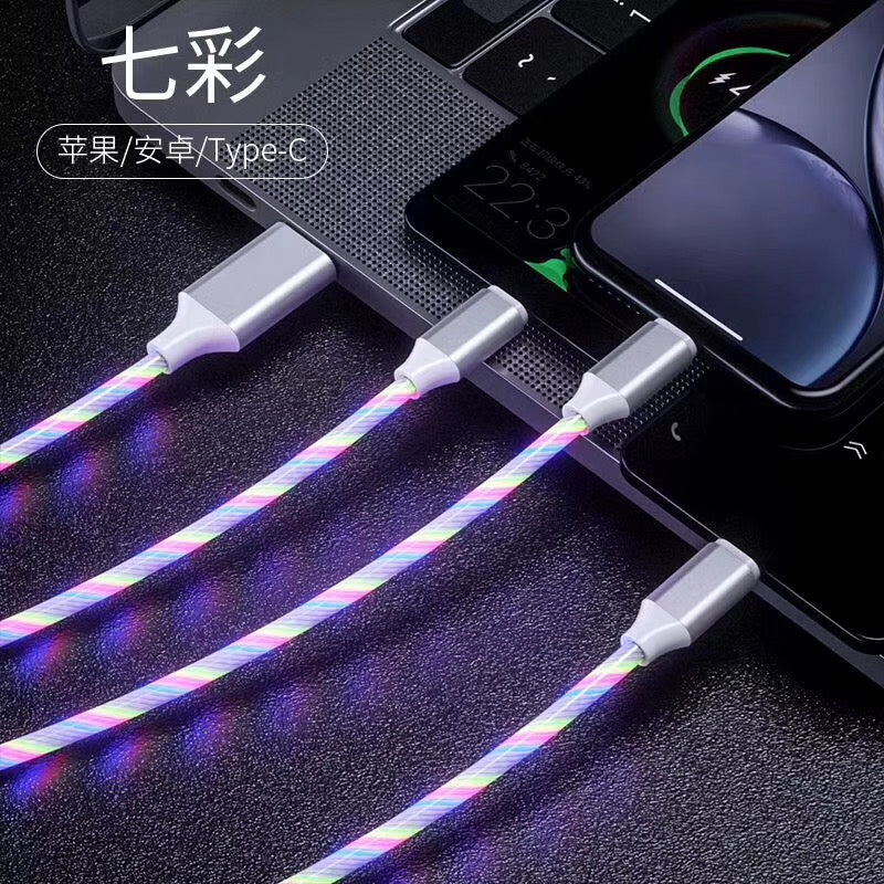 3-in-1 USB to Micro USB Type-C Lighting 2A LED Fast Charging Data Cable Adapter for Mobile Phones red