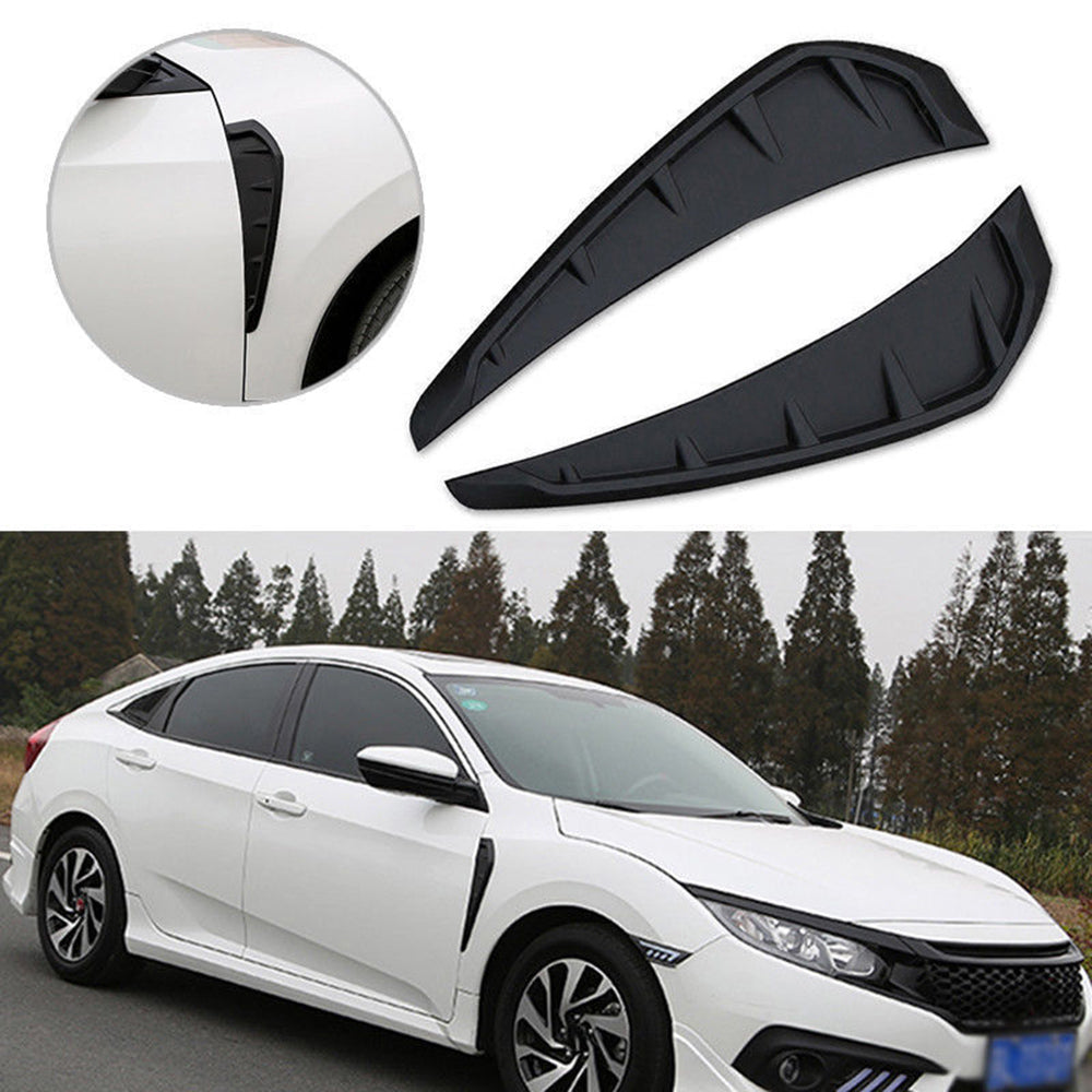 2pcs ABS Side Fender Vent Air Wing Cover Trim for 2016-2020 Honda Civic  Matte black