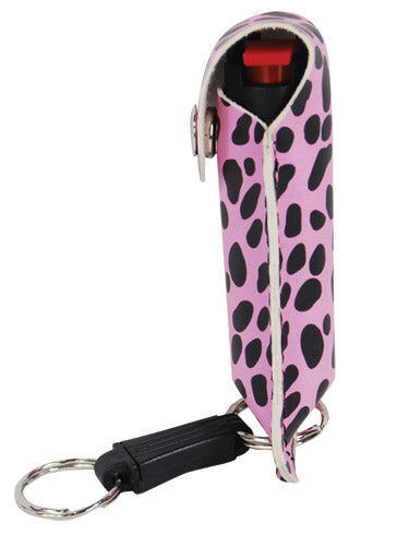 Pepper Shot 1.2% MC 1/2 oz pepper spray fashion leatherette holster and quick release keychain cheetah black/pink