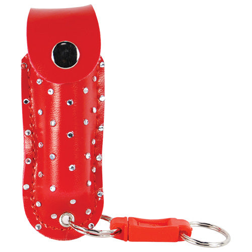 Pepper Shot 1.2% MC 1/2 oz rhinestone leatherette holster and quick release keychain red