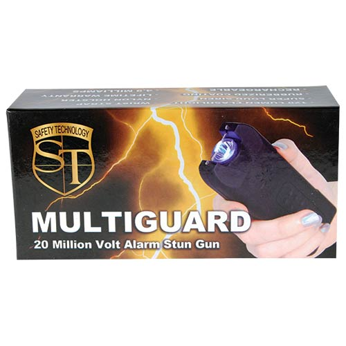 20,000,000 volt MultiGuard Stun Gun Alarm and Flashlight with Built in Charger Black