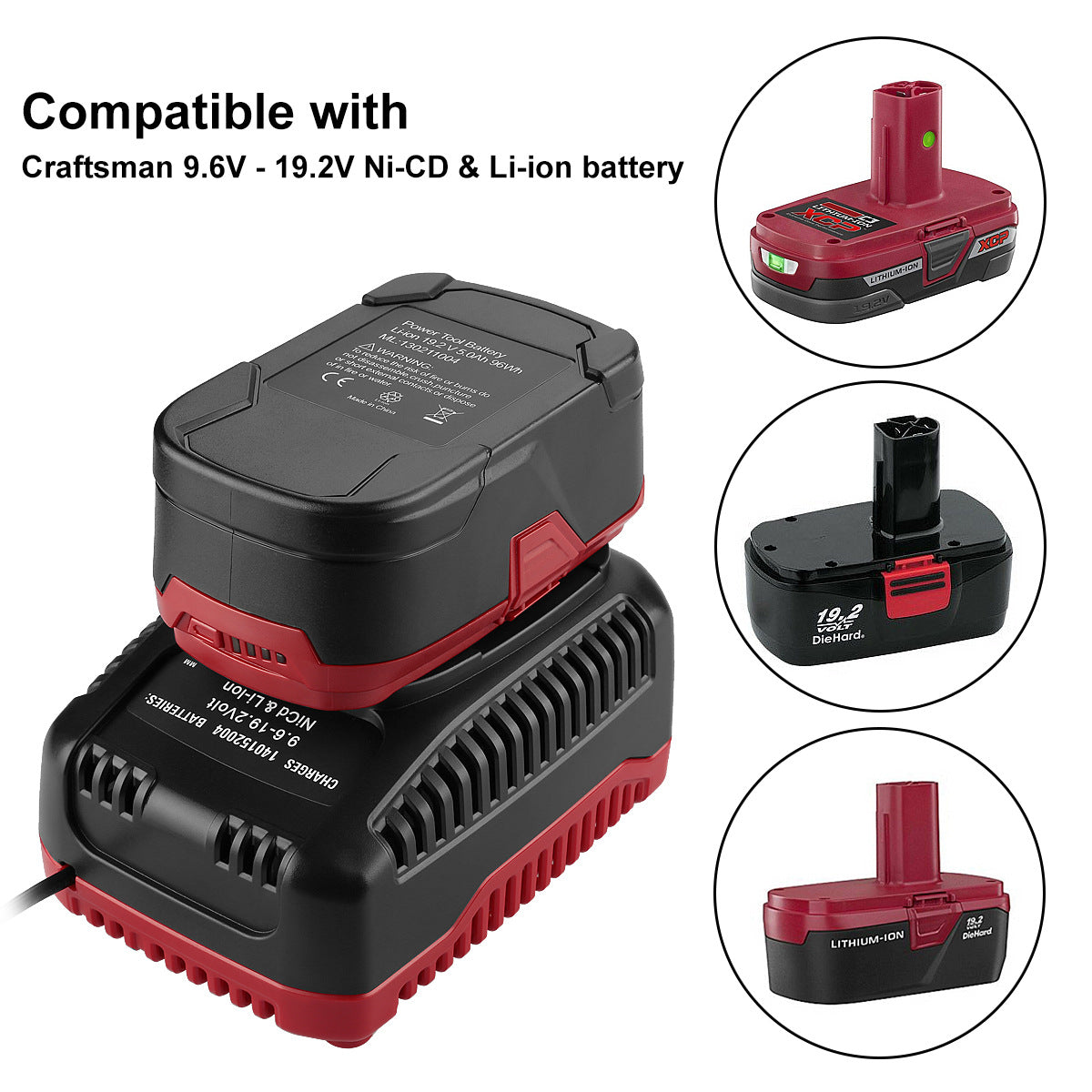 Carftsman 19.2V Charger Lithium Battery NiCd Battery Charger