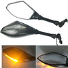 Motorcycle Double LED Turn Lights Side Mirrors Turn Signal Indicator Rearview Mirror  black_Pointed double lamp