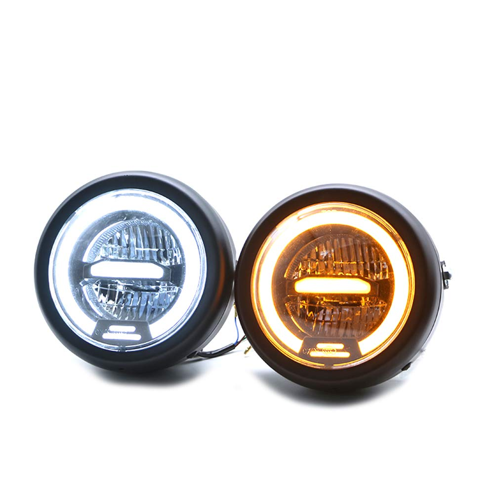 6.5Inches Metal LED Retro Motorcycle Headlight Universal Cafe Racer Vintage Motorcycle LED Headlamp Yellow light