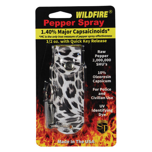 Wildfire 1.4% MC 1/2 oz pepper spray fashion leatherette holster and quick release keychain leopard black/white
