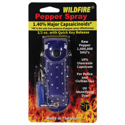 Wildfire 1.4% MC 1/2 oz with rhinestone leatherette holster blue and quick release keychain