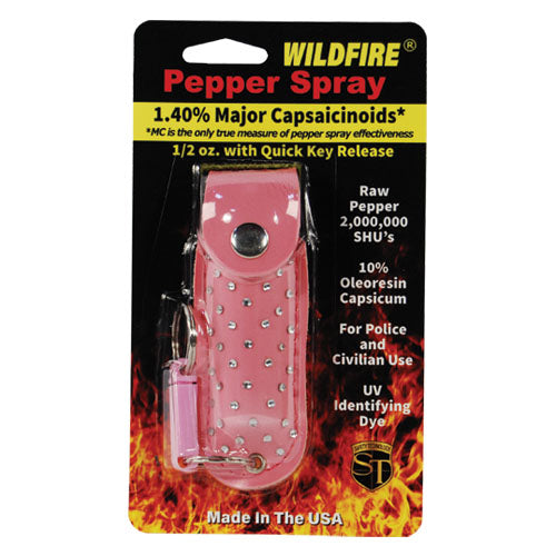 Wildfire 1.4% MC 1/2 oz with rhinestone leatherette holster pink and quick release keychain