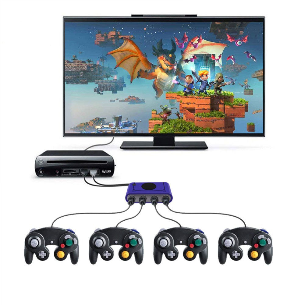 Switch/WIIU/PC Switch Controller Adapter NGC to Switch GC to WIIU NGC to PC Gamecube Adapter blue