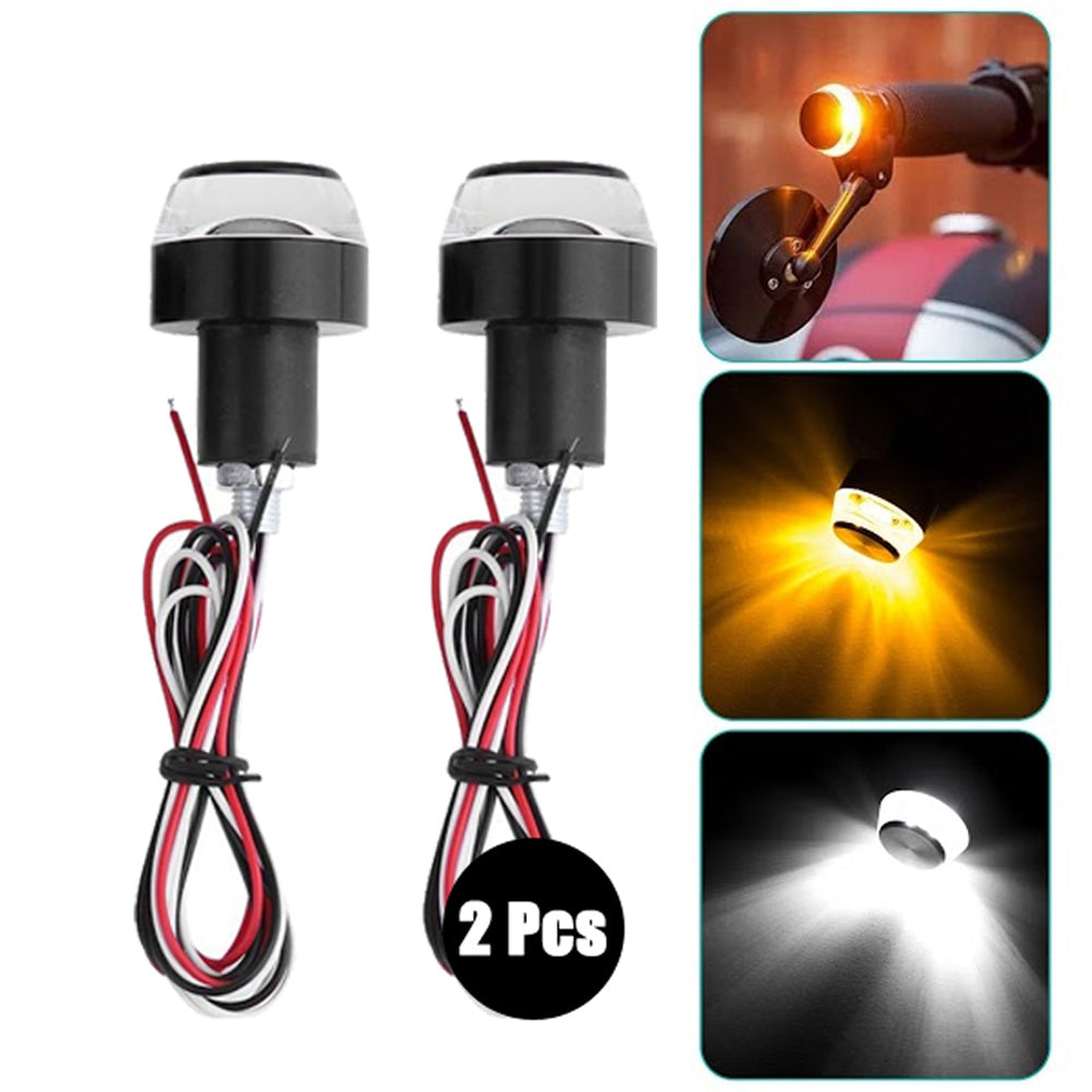 2pcs Motorcycle Turn Signal LED Light Indicator Blinker Handle Bar End Handlebar Turn Signal Corner Light