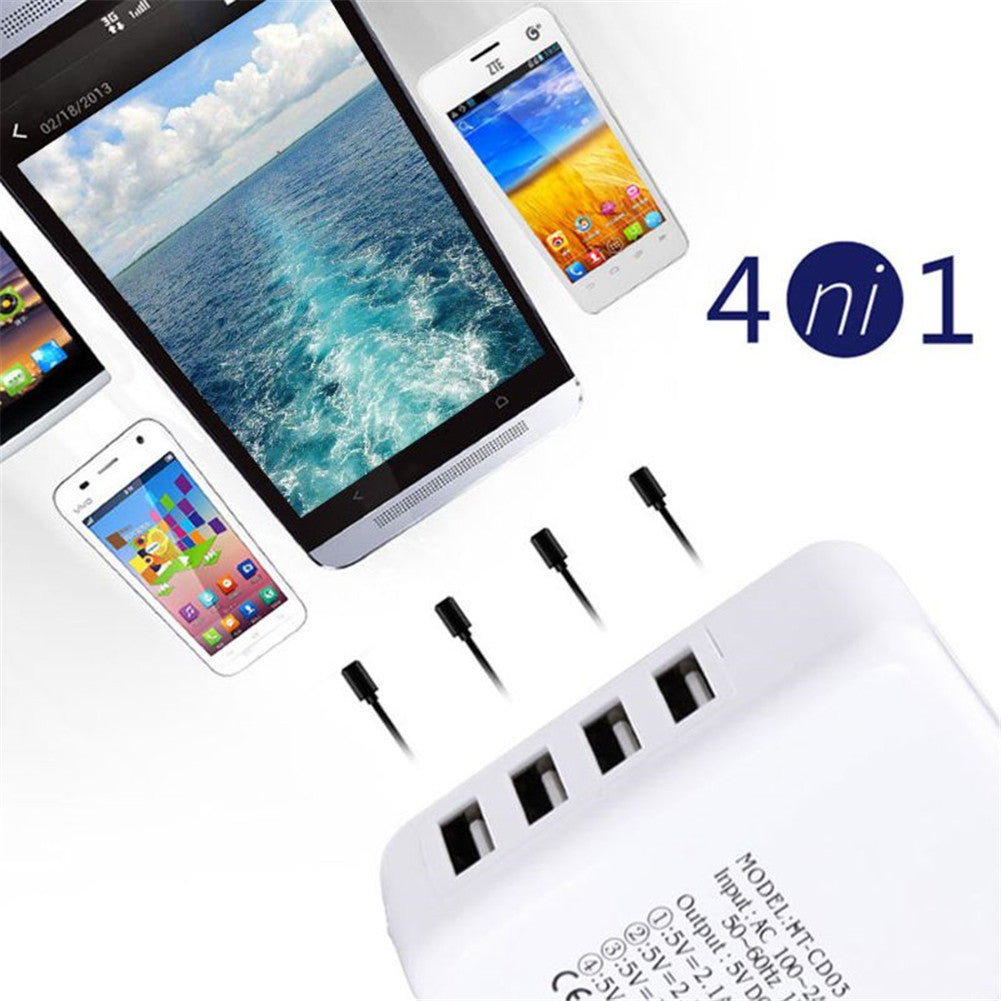 4 Ports USB 5V DC 3.1A Fast Charging Adapter Charger for Mobile Phone EU Plug
