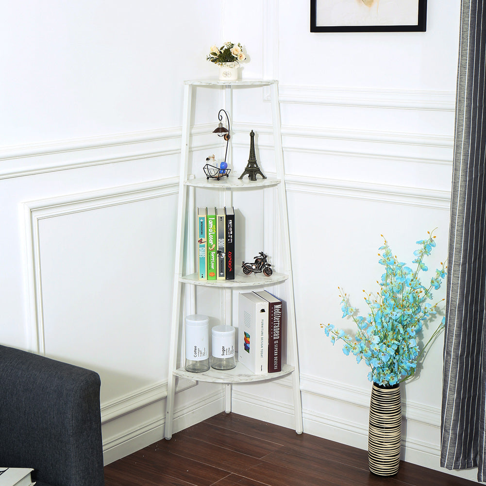 4Layers Storage Rack Simple Book Shelf for Home Living Room Display Decor white