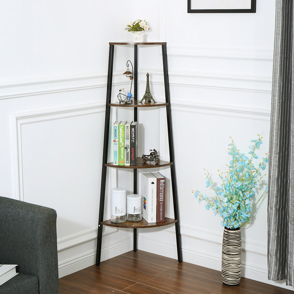 4Layers Storage Rack Simple Book Shelf for Home Living Room Display Decor black