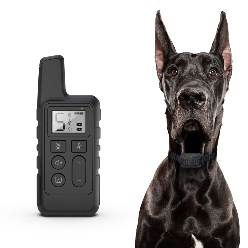Dog Training Collar Electric Shock Vibration Sound Anti-Bark Remote Electronic Collars Waterproof Pet Supplies black