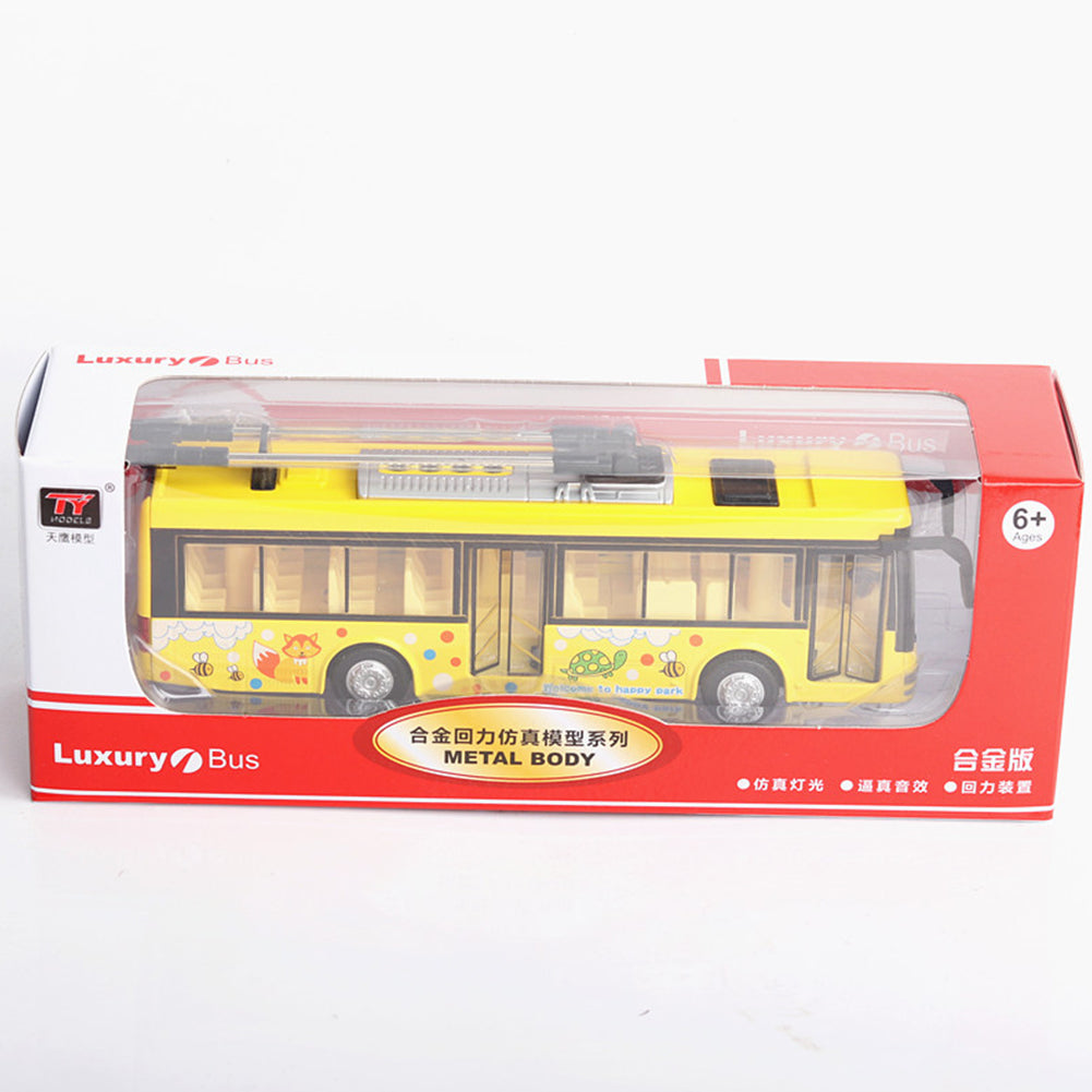 1:36 Scale Car Modeling Metal Alloy Trolleybus Voice Announcement Light Sound Toy for Kids Collect(Box Packing) yellow